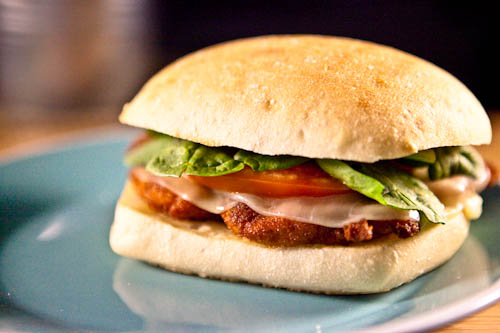 Chicken Cutlet and Mozzarella Sandwich