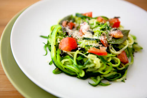 Fresh Zucchini Pasta with Chopped Tomatoes