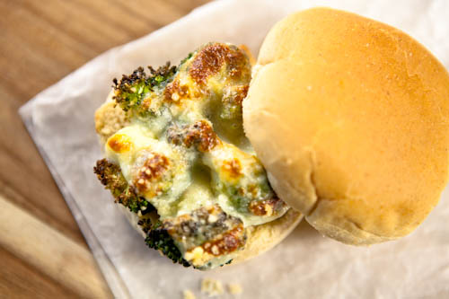 Roasted Broccoli and Mozzarella Sandwich