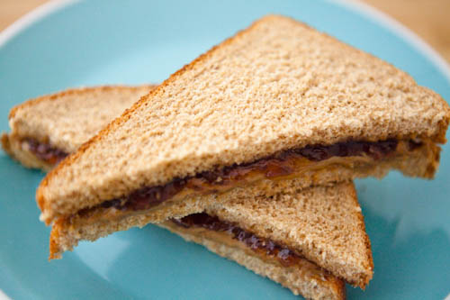 Sunbutter and Raspberry Preserves Sandwich