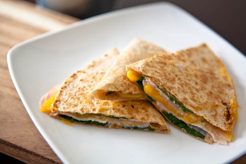 Turkey, Cheese, and Spinach Quesadilla