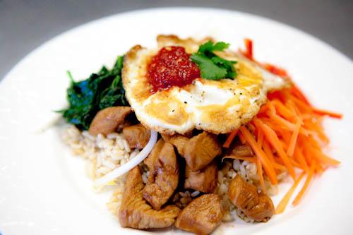 Bibimbap Korean Rice Dish with Chicken