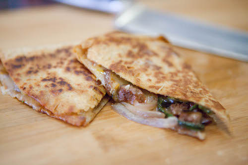 Steak Quesadilla with Peppers and Onions